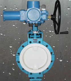Electrical actuator PTFE lined butterfly valve