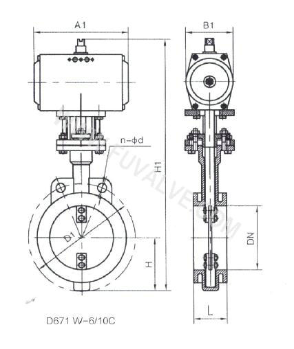 Low load type ventilation Wafer Butterfly Valve drawing