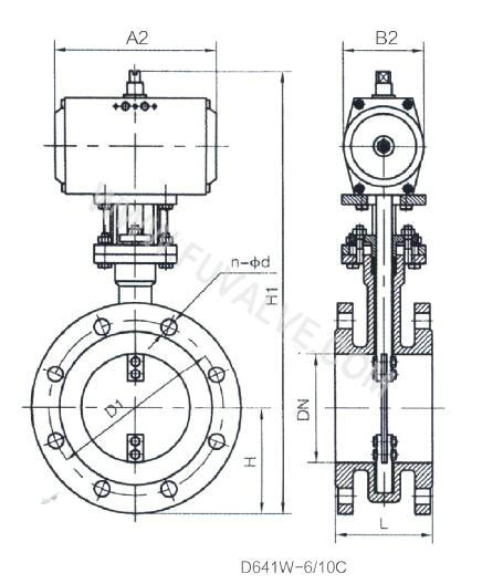 Low load type ventilation flange Butterfly Valve drawing